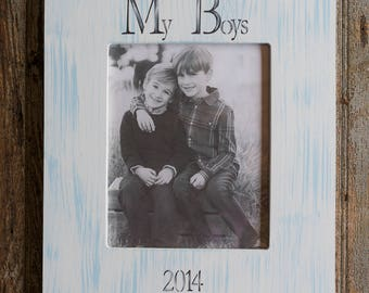 Personalized My Boys Picture Frame 8x10 in Sky Blue Stripes, Hand-Painted, Custom Made, Boy Gift Idea,The Boys Frame, Brothers,Siblings,Boys