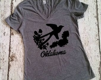 Oklahoma Shirt - Scissortail Flycatcher - Unique Oklahoma Tee - Okie Shirt - Love Oklahoma - Birthday Gift - Gifts For Women