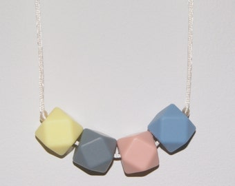 Necklace for Mum, Silicone Teething necklace, Baby Shower gift, Pastel necklace, New Baby Gift, Spring Necklace, LILY #35
