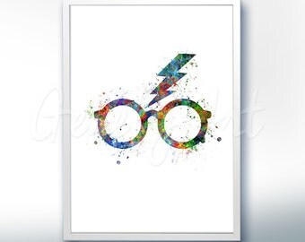 Harry Potter Glasses Poster Print - Wall Decor - Artwork- Painting - Illustration - Home Decor - Kids Decor - Nursery Decor