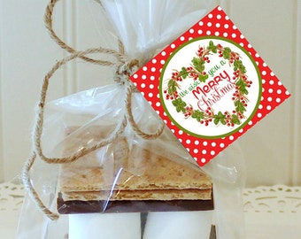 S'mores Kits, 12 S'mores Favor Kits, Christmas S'mores Kit, Christmas Wreath, S'mores Favors, Christmas Favors, Holiday S'mores Party Favor