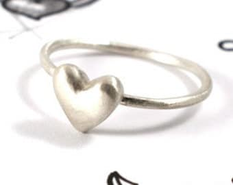 Heart ring, sterling silver love ring, tiny heart minimalist ring, small heart everyday ring, mini heart simple ring, puffy heart bff ring