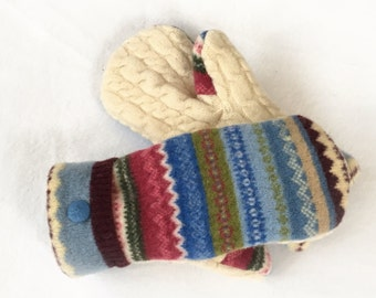 Sweater Mittens, Recycled Sweater Mittens, Wool Mittens, Lined Sweater Mittens, Ski Mittens, Felted Wool mittens
