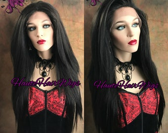 Long Black Human Hair Blend Frontal Lace Front Wig- Genna