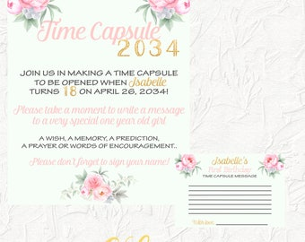Floral Time Capsule, First Birthday, Time Capsule, Time Capsule Sign, Pink and Gold, Birthday Party, 1st Birthday, Floral, Digital File