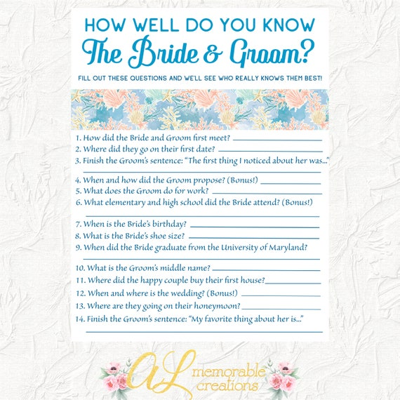 How Well Do You Know The Bride And Groom Game Bridal Shower