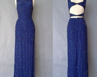 20% off using coupon! Gorgeous vintage cobalt blue beaded.embroidered formal dress/prom dress/evening dress women's size S