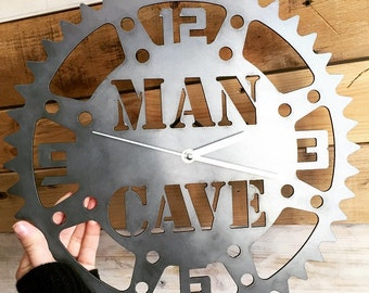 Rustic Metal Man Cave Clock- Perfect for the Garage, Office or Man cave!