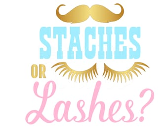 Staches or Lashes Maternity Pregnancy Announcement  Boy or Girl? Gender Reveal Party Iron On Decal Vinyl for Shirt 050