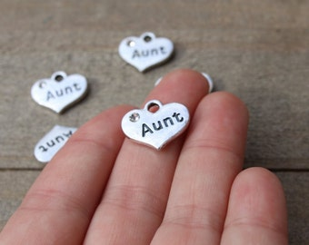 10 pieces Aunt Heart Charm with Rhinestone, Aunt Charm, Heart with Rhinestone, Stamped Heart B19615H