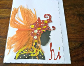 Carnival Collection 2017 - orange headdress greeting card