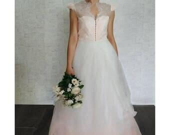 Gradient pink wedding dress, bridal gown, colored wedding dress bridal gown, gradient color, tulle, tulle skirt, boho wedding dress