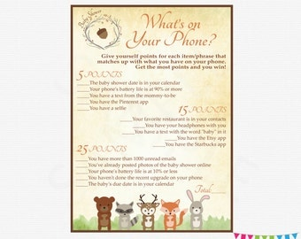 Woodland Baby Shower Games, What's On Your Phone, Printable Baby Shower Games, Instant Download, Baby Shower Activity, Printable Game WD01