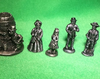 7 Vintage Pewter Figures by The Americana Pewter Collection