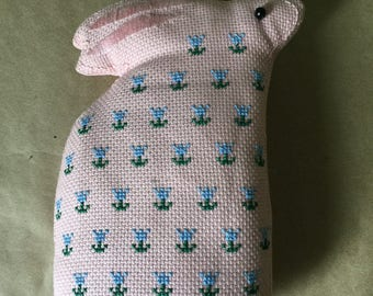 Pink Bunny Rabbit Pillow with Blue Floral Cross Stitch Easter Pillow Doll