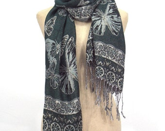 10% OFF Butterfly Pashmina Scarf,Spring Scarf, Autumm Scarf, Fall Scarf, Oversize Cowl Scarf, Shawl, Women Scarves, Deep Green Scarf