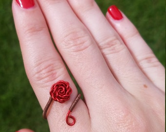 Wire wrapped copper red rose adjustable ring