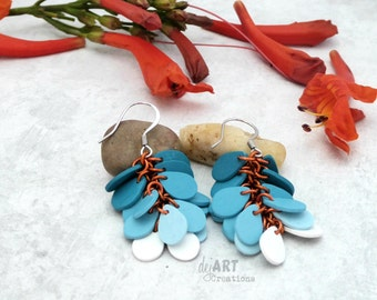 Teal Polymer Clay Earrings, Cluster Dangles, Ombre Cascade, Spring Fashion, Teardrop, Tropical Colors
