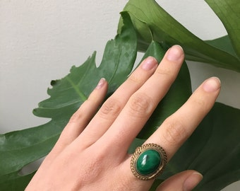 Malachite Locket Ring, Yellow Gold Plated Silver, Vintage 1960s