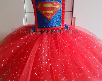 Superhero tutu dress supergirl fancy dress
