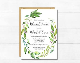 Botanical Rehearsal Dinner Invitation, Printable Greenery Rehearsal Dinner Invite, Foliage Wreath DIY Rehearsal Dinner Invite Download 105-A