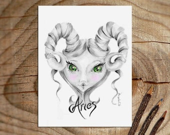 Aries print original drawing pencil graphite art illustration zodiac wall art bedroom astrology art aries gifts birthday march april