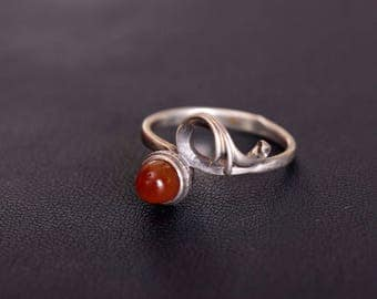 Sterling Silver Ring - Carnelian Gem Stone Ring - Delicate Silver Stacking Ring - 8 size