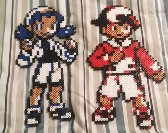 PKMN Trainers Ethan and Kris - Pokemon Crystal Perler Bead Sprites