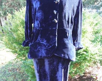 1970's Ladies Dark Blue Velvet Skirt and Belted Long Cuffed Sleeve Top