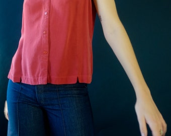 Red Silk Button Down Blouse / sleeveless top / minimal / s / m