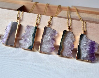 Amethyst slice necklace Raw amethyst necklace quartz necklace rough amethyst Druzy necklace for her Raw Crystal necklace Gemstone necklace