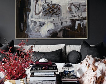 Oil painting, Handmade Extra Large Contemporary Painting, Huge Abstract Canvas Art, Original, black and white, Hand paint. Acrylic painting.