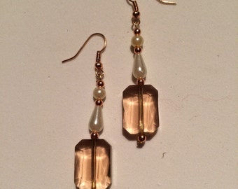 Copper Oblong crystal and Pearl Earrings