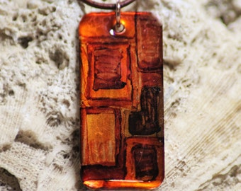 Shades of Brown and Orange hand Painted Alcohol Ink Rectangle Copper Necklace