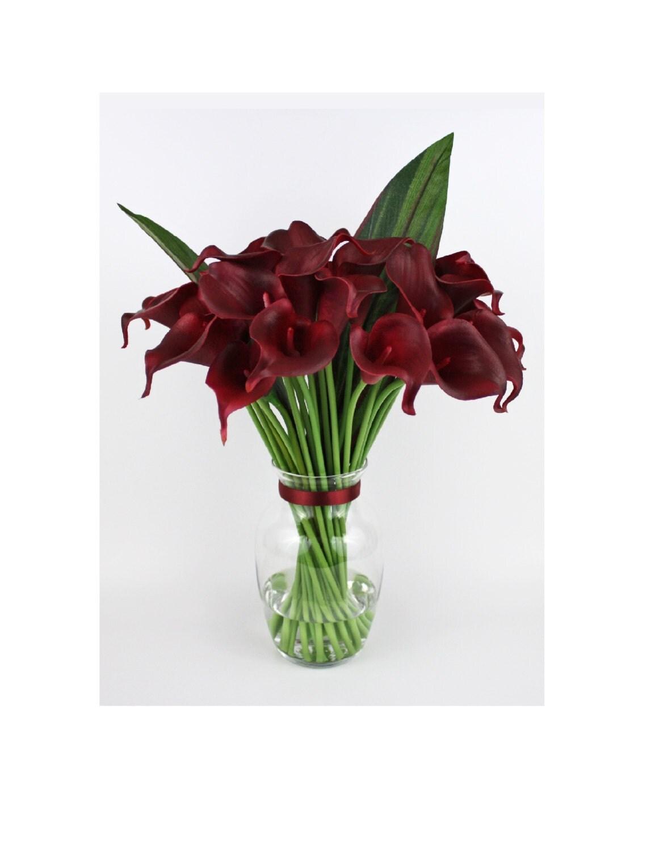 Burgundy calla lilylilies silk floral arrangement faux zoom dhlflorist Images