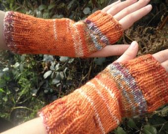 Childrens wool Fair Isle effect hand warmers / wrist warmers, fingerless gloves, orange autumunal shade gloves