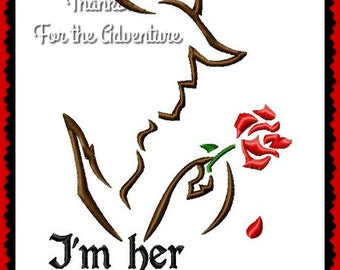 I'm Her Beast with the Magic Rose Combo from Beauty and the Beast Sketch Digital Embroidery Machine  Design File 5x7 6x10 8x12