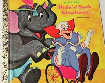 Bozo ant the Hide 'n' seek Elephant book-Golden Press 1972-Bozo the Clown-Circus book-Clown book-Decor-Vintage children's book-Golden book