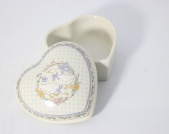 Porcelain Heart Jewelry Box or trinket Box Country Geese - Japan