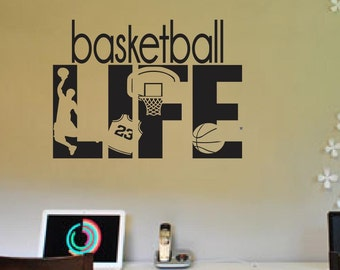 Basketball Life hobby Wall Decals Boys Girl Kids Room personal name Decor Player Sport Vinyl Sticker Home Interior Art Bedroom Decor