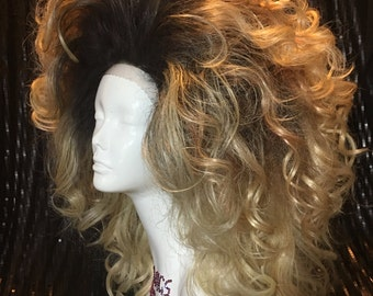 Big Drag Ombre Blonde Wig with Tight Curl