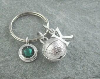 Basketball keychain, basketball keyring, personalized keyring, custom keychain, initial keychain, birthstone keychain, monogram keychain