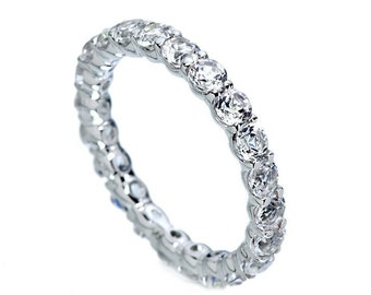 White Gold Eternity Band. Gold Eternity Ring. Wedding band women. Gold Wedding Ring. Womens wedding band. Wedding ring for her.