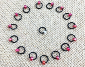 Round Stitch Markers, Black and Pink Stitch Marker, O Ring Stitch Markers, Dangle Free Markers, Gifts for Knitter, Knitting Tool, Snag Free