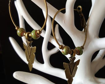 Ethnic Arrow hoop earrings - bronze - ceramic beads - bronze arrowhead rings - Bohemian - nature