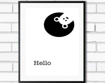 Hello bear digital print