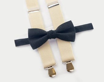 bow tie and suspenders for boys, black bow tie & beige suspenders, ringbearer outfit