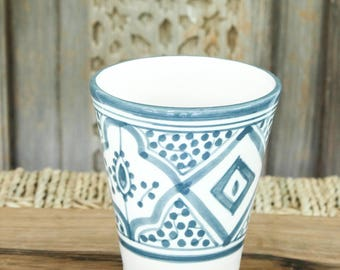 Set of Two Moroccan Coffee Cups - Grey/Blue-ish and White 'Striped'