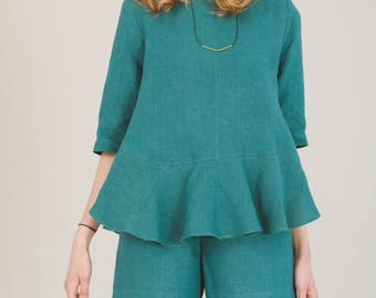 SALE, Organic hemp shorts, Green shorts, summer shorts, sustainable clothing, hemp clothing, Womens clothing, dark green shorts