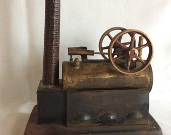 Antique George Carette toy stationary steam engine or possibly an early Fleishmann